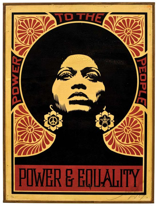Shepard Fairey (Obey), AFROCENTRIC RED HPM ON WOOD, 2007